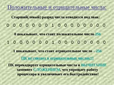 Положительные и отрицательные числа: Старший(левый) разряд числа отводится по...