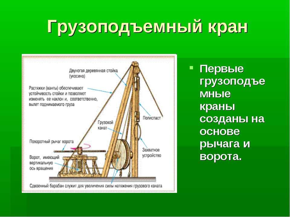 Грузоподъемный кран Первые грузоподъемные краны созданы на основе рычага и во...