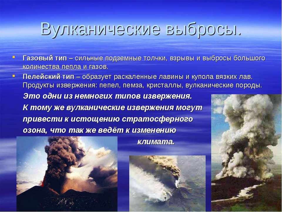 Вулканические выбросы. Газовый тип – сильные подземные толчки, взрывы и выбро...