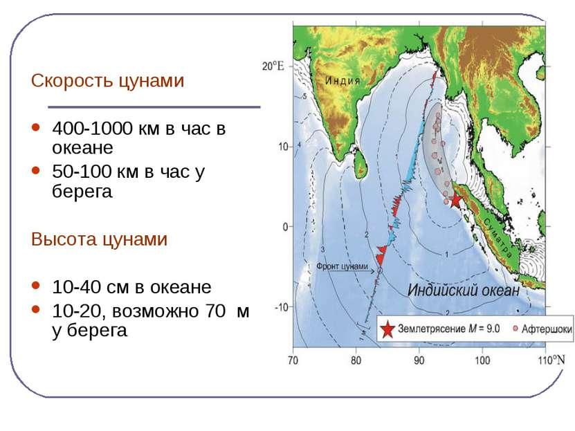 Скорость цунами 400-1000 км в час в океане 50-100 км в час у берега Высота цу...