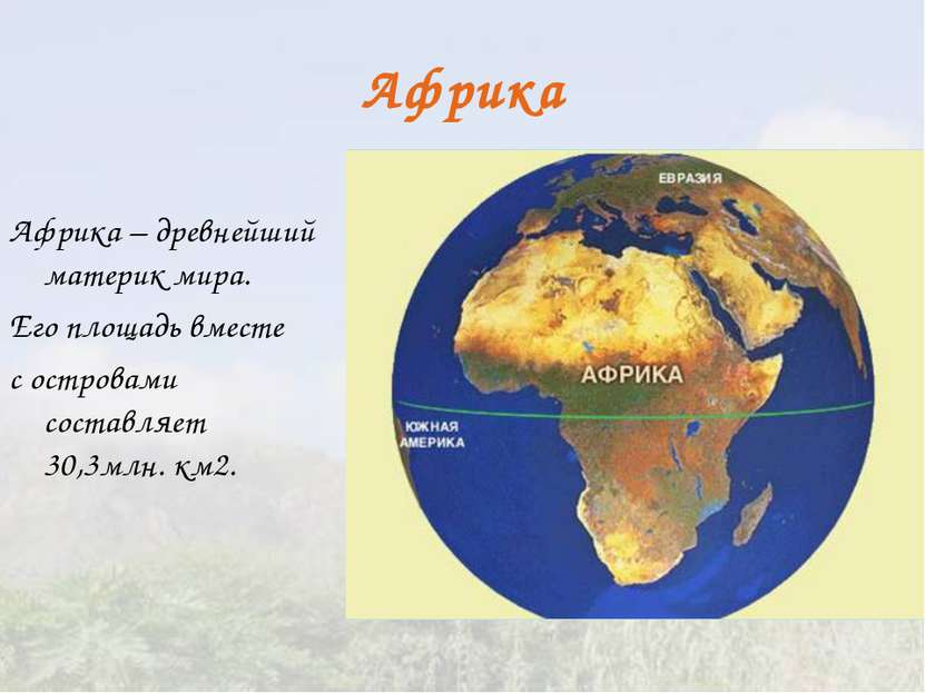 Африка Африка – древнейший материк мира. Его площадь вместе с островами соста...