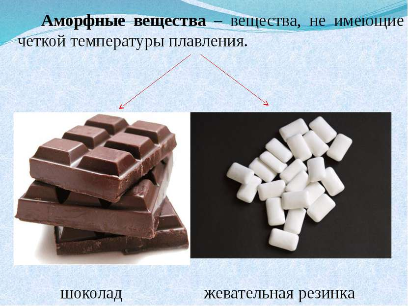 Аморфные вещества – вещества, не имеющие четкой температуры плавления. шокола...
