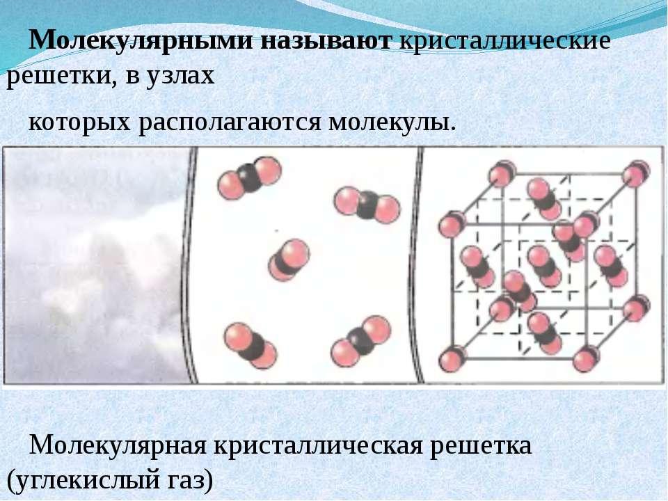 Молекулярными называют кристаллические решетки, в узлах которых располагаются...