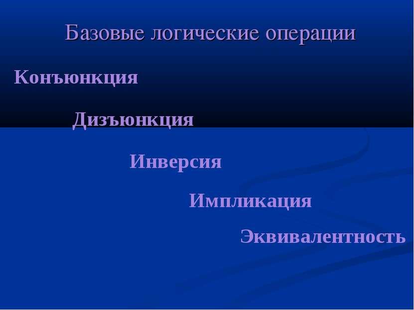 Базовые логические операции Конъюнкция Дизъюнкция Инверсия Импликация Эквивал...
