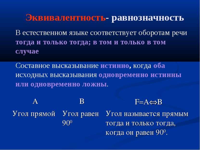 Эквивалентность- равнозначность В естественном языке соответствует оборотам р...