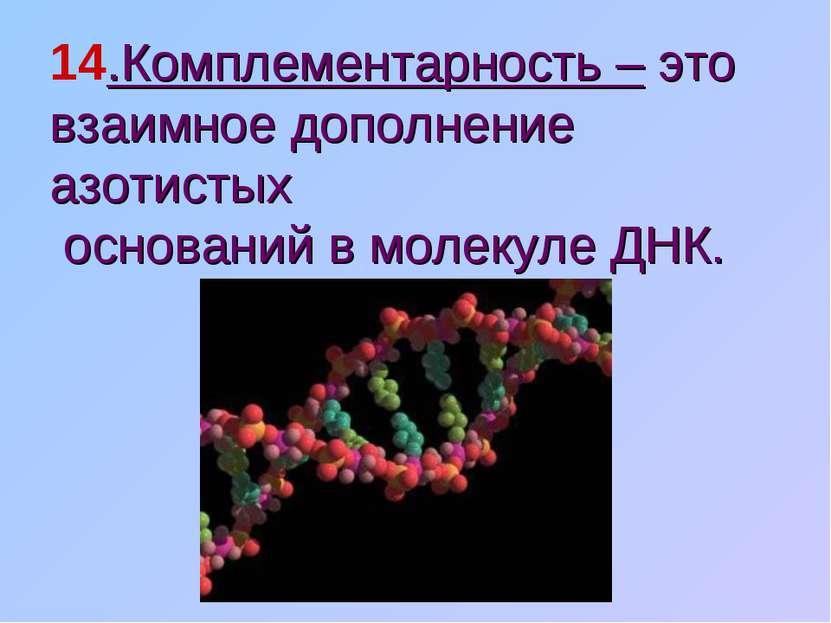14.Комплементарность – это взаимное дополнение азотистых оснований в молекуле...
