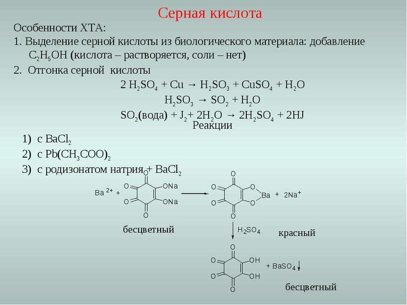 Реакции с ВаCl2 с Pb(CH3COO)2 с родизонатом натрия + BaCl2 бесцветный красный...