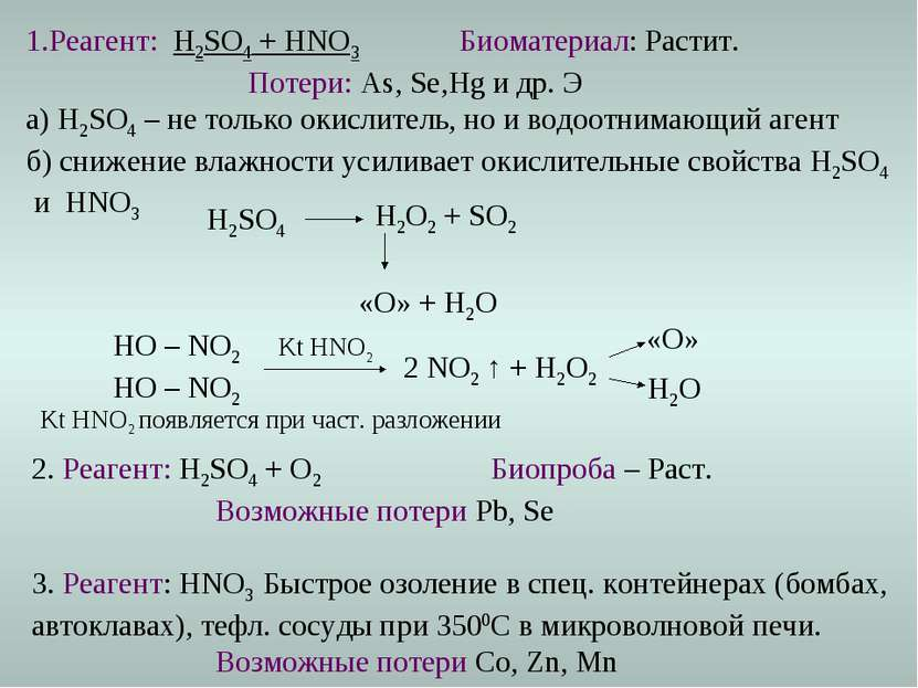 2. Реагент: H2SO4 + O2 Биопроба – Раст. Возможные потери Pb, Se 3. Реагент: H...