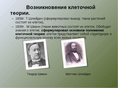 Возникновение клеточной теории. 1838г. Т.Шлейден (сформулировал вывод: ткани ...