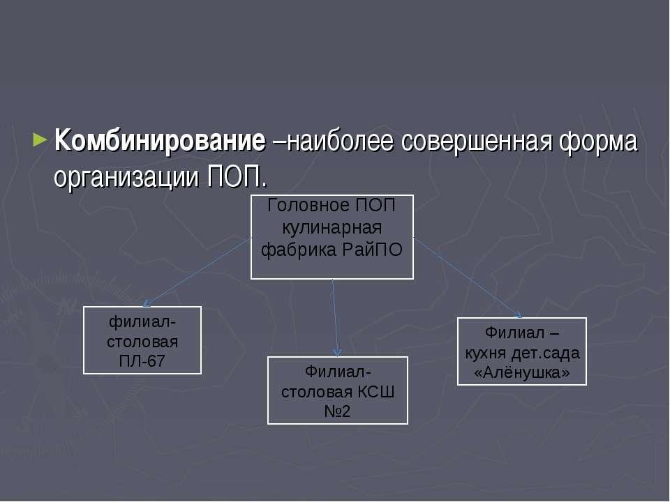 Комбинирование –наиболее совершенная форма организации ПОП. Головное ПОП кули...