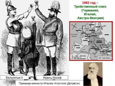 1882 год – Тройственный союз (Германия, Италия, Австро-Венгрия) Вильгельм II ...