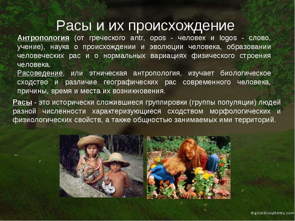 Расы и их происхождение Расы - это исторически сложившиеся группировки (групп...