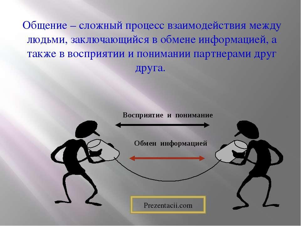 Общение – сложный процесс взаимодействия между людьми, заключающийся в обмене...