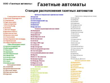 Станции расположения газетных автоматов Арбатско-покровская и филевская линия...