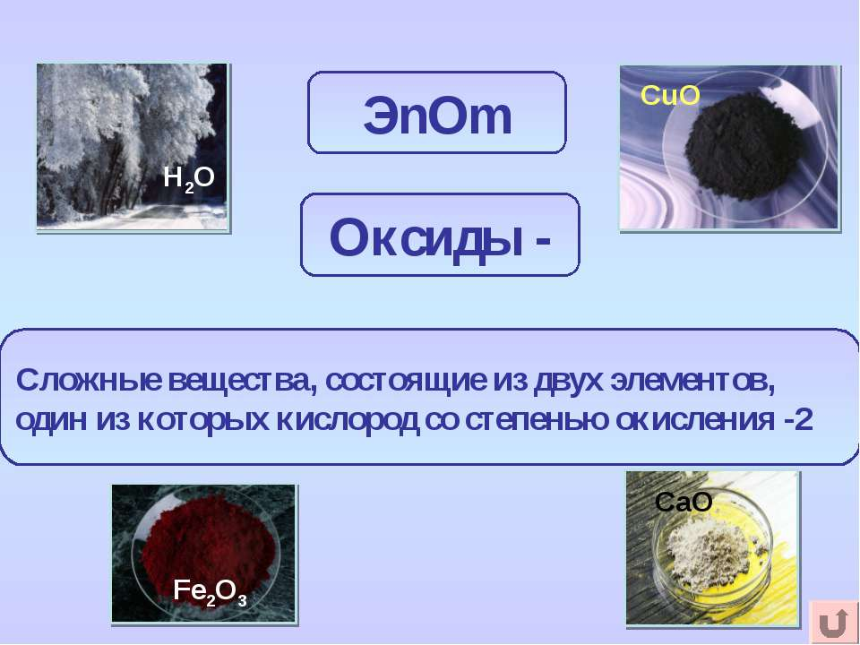 ЭnОm Сложные вещества, состоящие из двух элементов, один из которых кислород ...