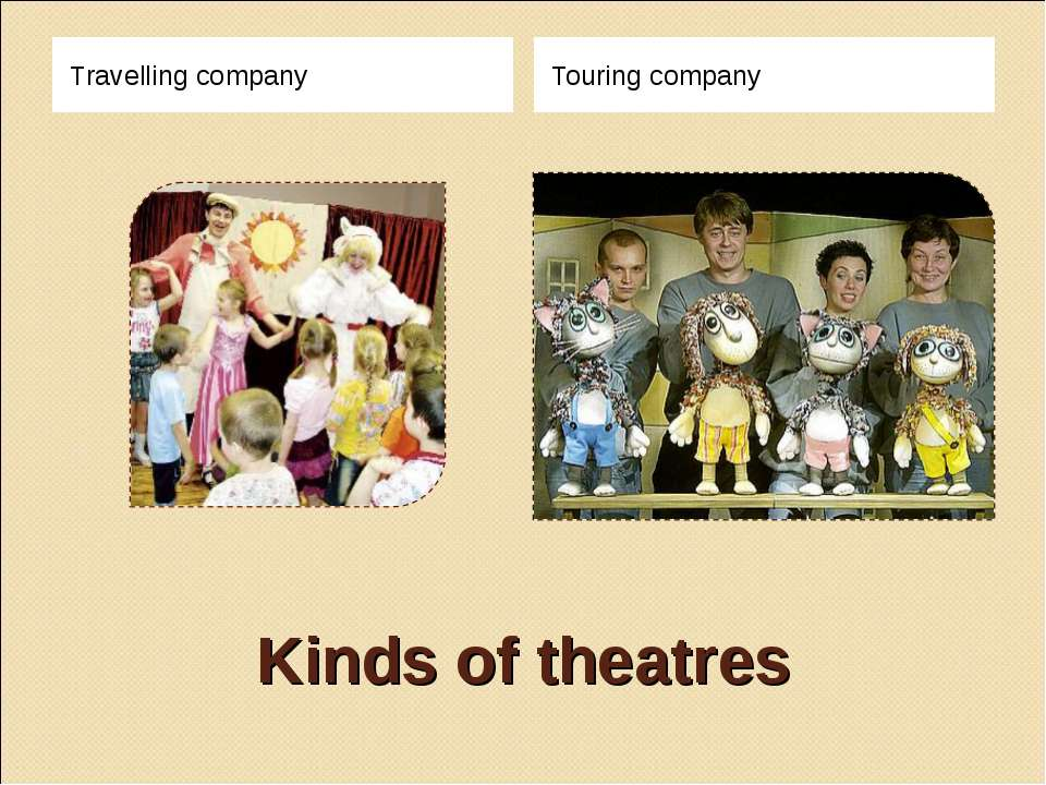 Kinds of theatres Travelling company Touring company