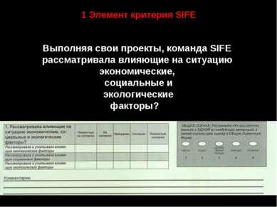 1 Элемент критерия SIFE Выполняя свои проекты, команда SIFE рассматривала вли...