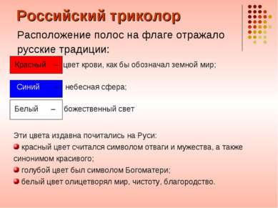 Российский триколор Расположение полос на флаге отражало русские традиции: Эт...