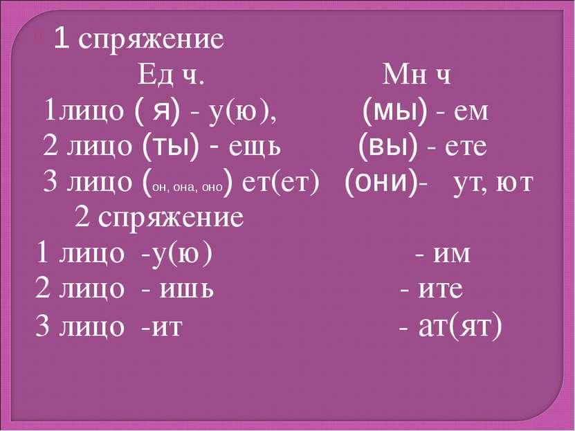 1 спряжение Ед ч. Мн ч 1лицо ( я) - у(ю), (мы) - ем 2 лицо (ты) - ещь (вы) - ...