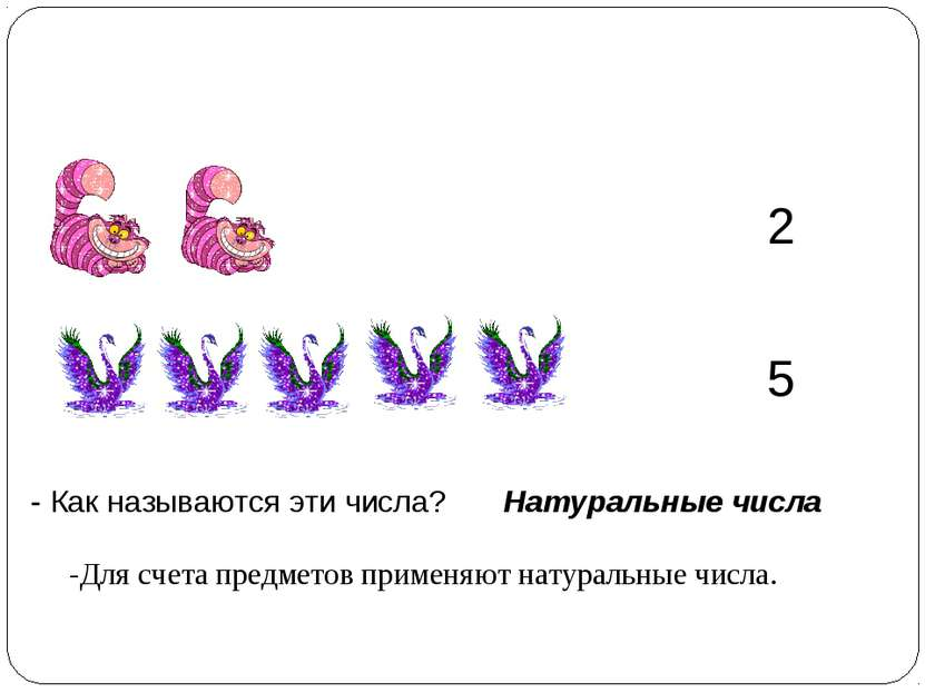 2 5 - Как называются эти числа? Натуральные числа -Для счета предметов примен...