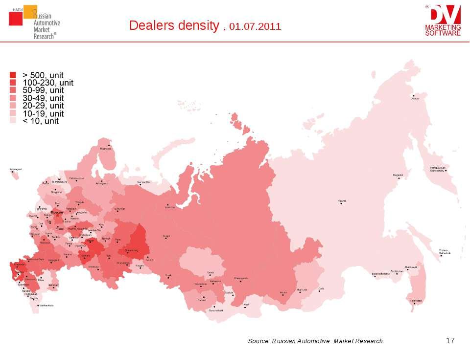 Dealers density , 01.07.2011 * Source: Russian Automotive Market Research.