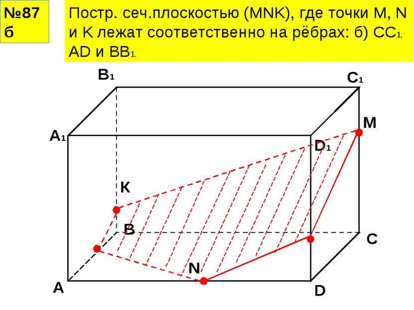 №87б Постр. сеч.плоскостью (MNK), где точки M, N и K лежат соответственно на ...