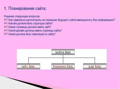 Планирование сайта: Решение следующих вопросов: Как правильно расположить на ...