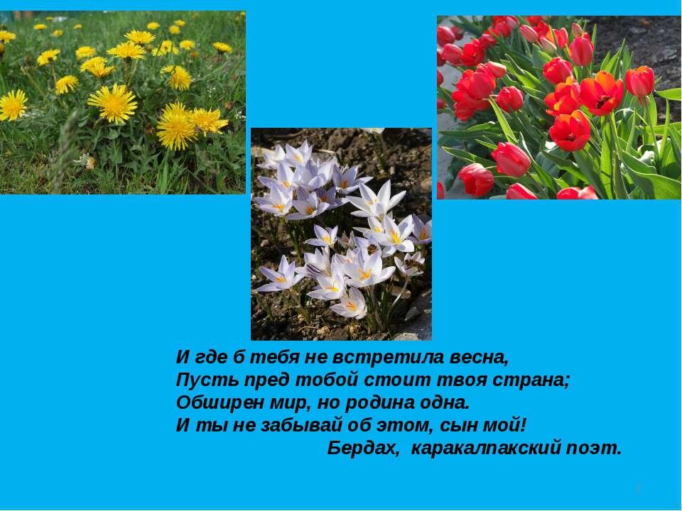 И где б тебя не встретила весна, Пусть пред тобой стоит твоя страна; Обширен ...