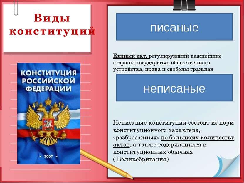 Виды конституций Единый акт, регулирующий важнейшие стороны государства, обще...