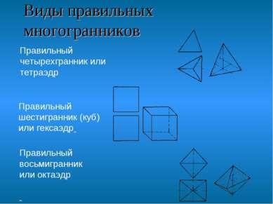 Виды правильных многогранников Правильный четырехгранник или тетраэдр Правиль...