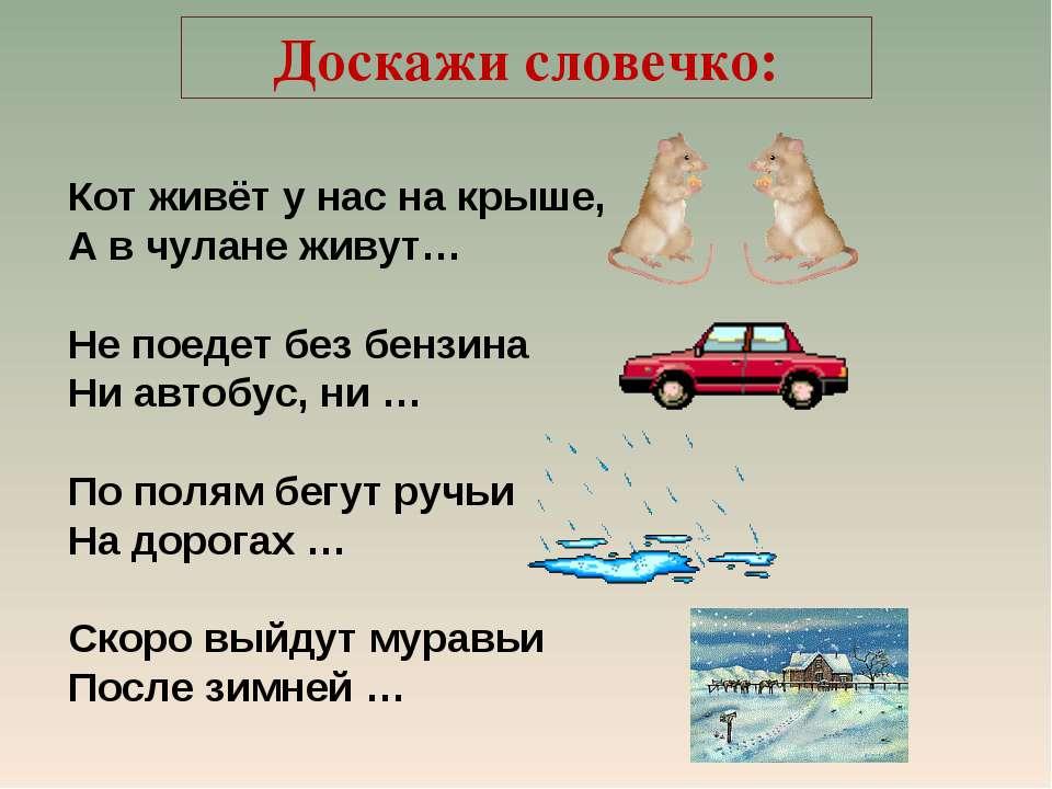 Доскажи словечко: Кот живёт у нас на крыше, А в чулане живут… Не поедет без б...