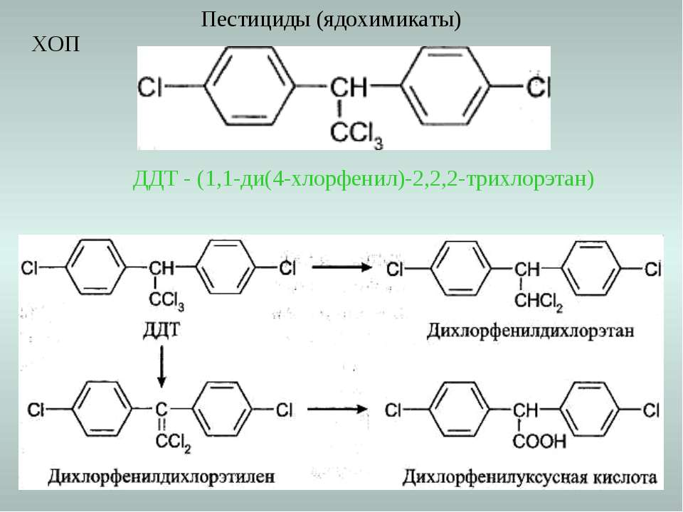 Пестициды (ядохимикаты) ДДТ - (1,1-ди(4-хлорфенил)-2,2,2-трихлорэтан) ХОП