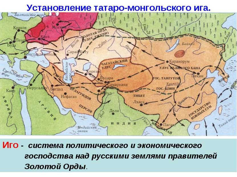 Установление татаро-монгольского ига. Иго - система политического и экономиче...