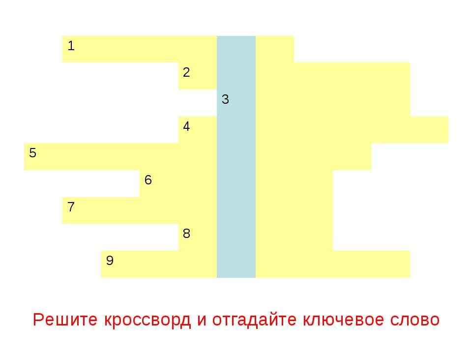 Решите кроссворд и отгадайте ключевое слово 1 2 3 4 5 6 7 8 9