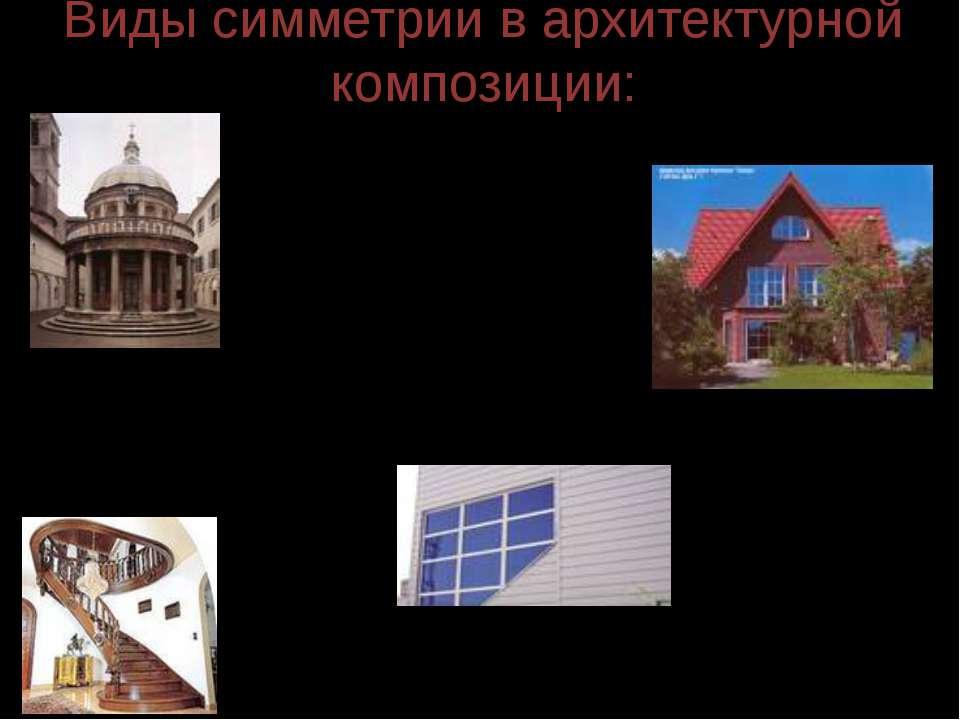 Виды симметрии в архитектурной композиции: центрально-осевая зеркальная; симм...