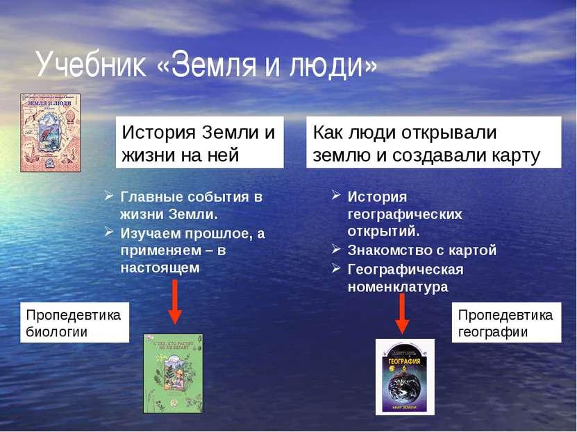 Учебник «Земля и люди» История Земли и жизни на ней Как люди открывали землю ...