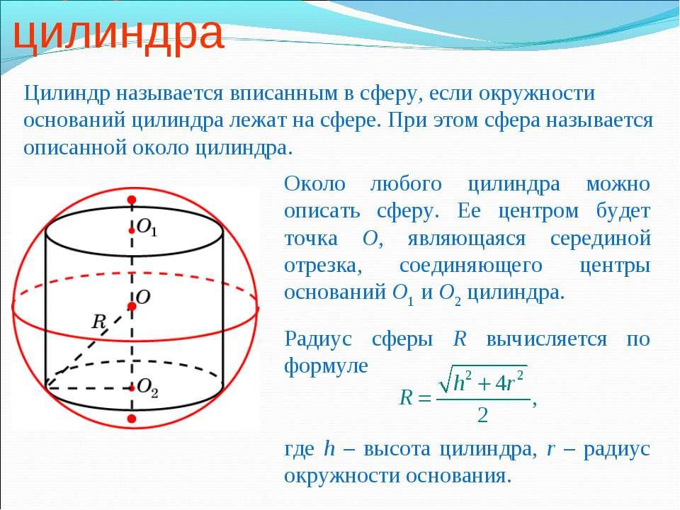 Сфера, описанная около цилиндра Цилиндр называется вписанным в сферу, если ок...