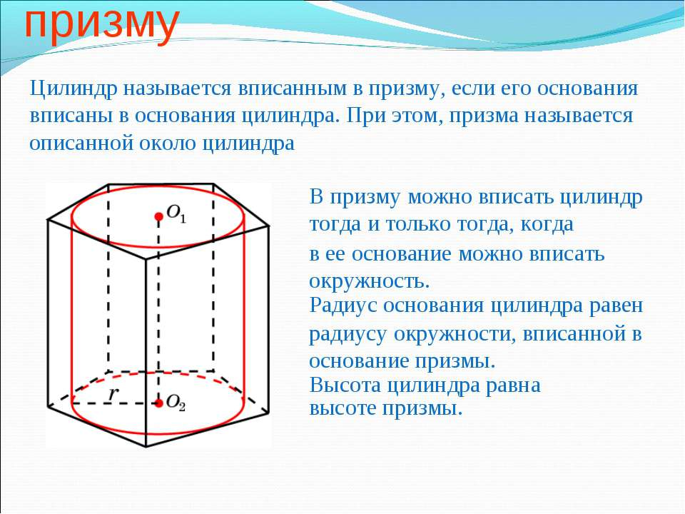 Цилиндр, вписанный в призму Цилиндр называется вписанным в призму, если его о...