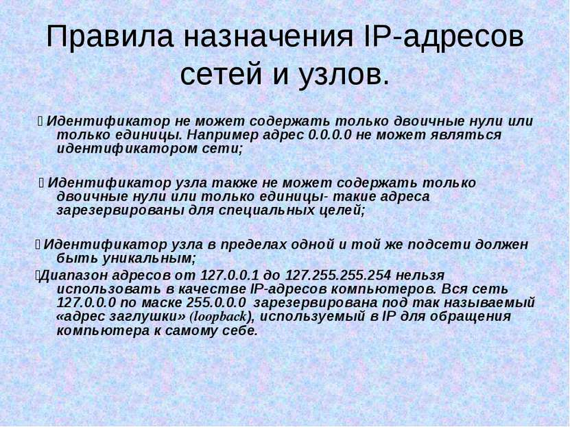 Правила назначения IP-адресов сетей и узлов. ٧ Идентификатор не может содержа...