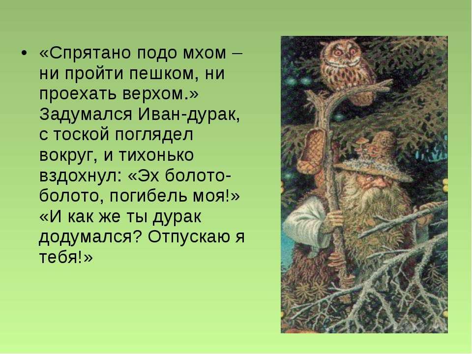 «Спрятано подо мхом – ни пройти пешком, ни проехать верхом.» Задумался Иван-д...