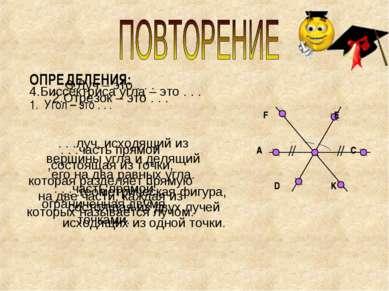 ОПРЕДЕЛЕНИЯ: Угол – это . . . F E A C D K F E A C D K . . .геометрическая фиг...