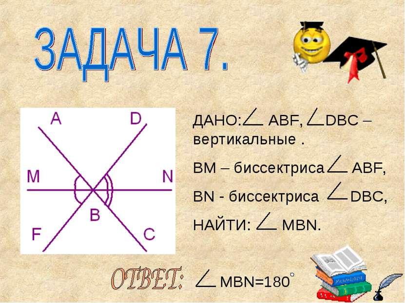 ДАНО: AВF, DBC – вертикальные . ВМ – биссектриса ABF, BN - биссектриса DBC, Н...
