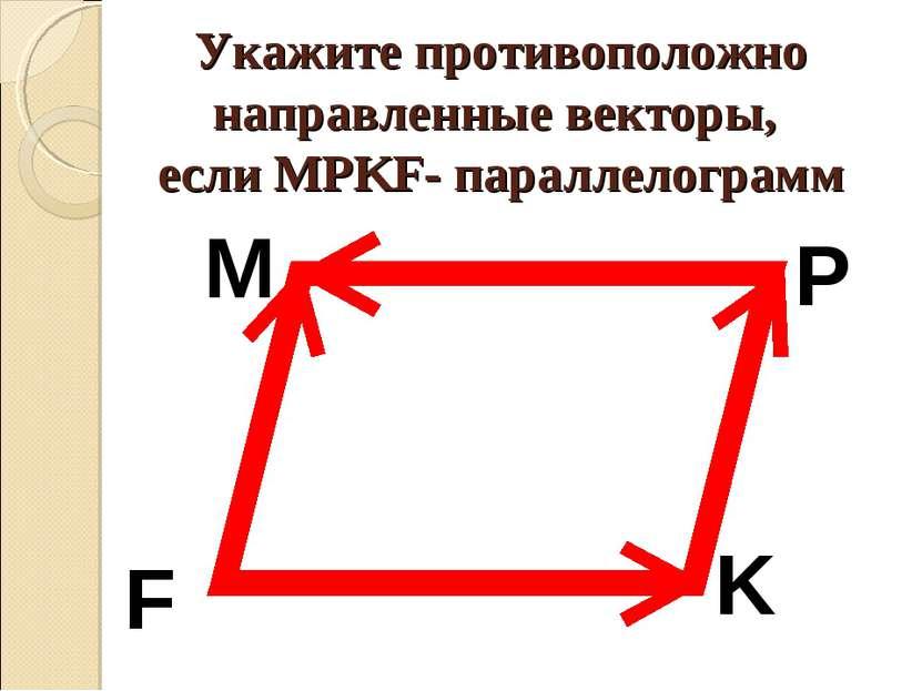 Укажите противоположно направленные векторы, если MPKF- параллелограмм M P K F
