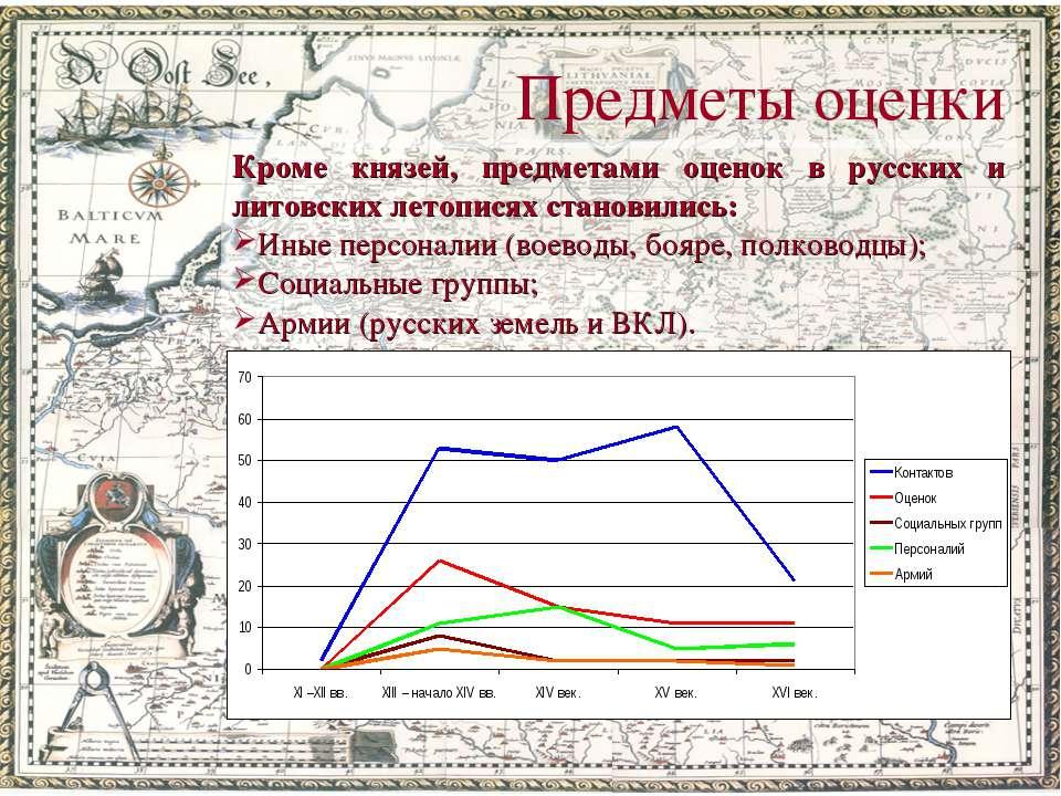 Предметы оценки Кроме князей, предметами оценок в русских и литовских летопис...