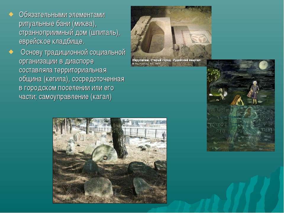 Обязательными элементами ритуальные бани (миква), странноприимный дом (шпитал...