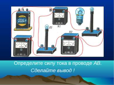 Определите силу тока в проводе АВ. Сделайте вывод !