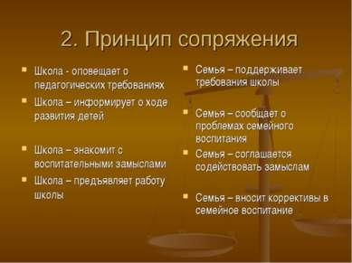 2. Принцип сопряжения Школа - оповещает о педагогических требованиях Школа – ...