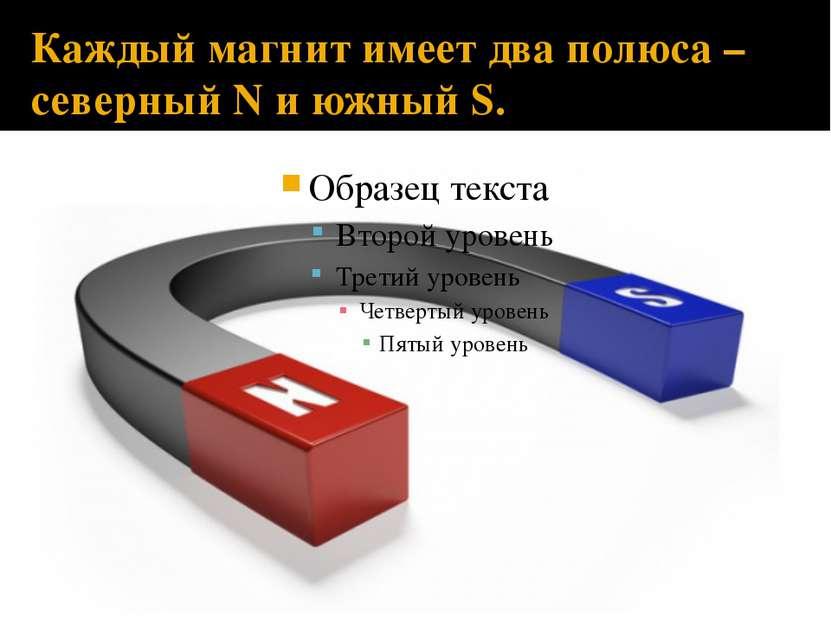 Каждый магнит имеет два полюса – северный N и южный S.