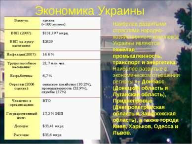 Экономика Украины Наиболее развитыми отраслями народно-хозяйственного комплек...