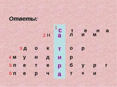 с т е н а Ответы: 1 2 н а л и м 3 д о к т о р 4 м у н д и р 5 п е т е р б у р...